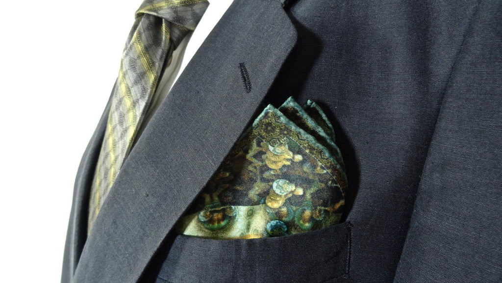 "Green Silk Pocket square, Steampunk Fractal Design, ""Victorian Series II"" - ScarvesByEllen"
