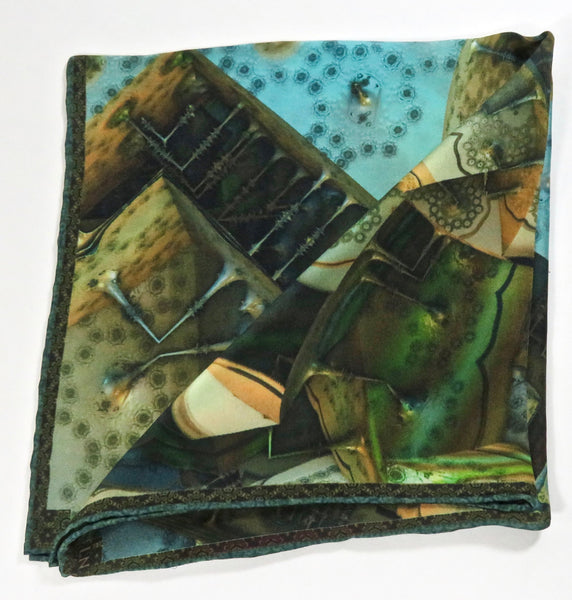 Green Silk Pocket square, Steampunk Pocket Square, Collectible Pocket Square Gift for Him,  Fractals, Science gifts, steampunk accessories