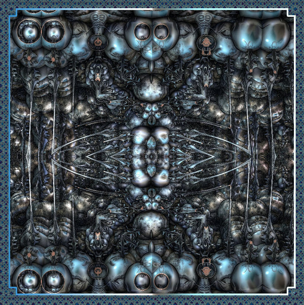 "Men's Silk Satin Pocket Square, ""Preparation for Battle"", a 3D Fractal design, 17"" square, Gifts for Him, Science gifts, hand-rolled hem"