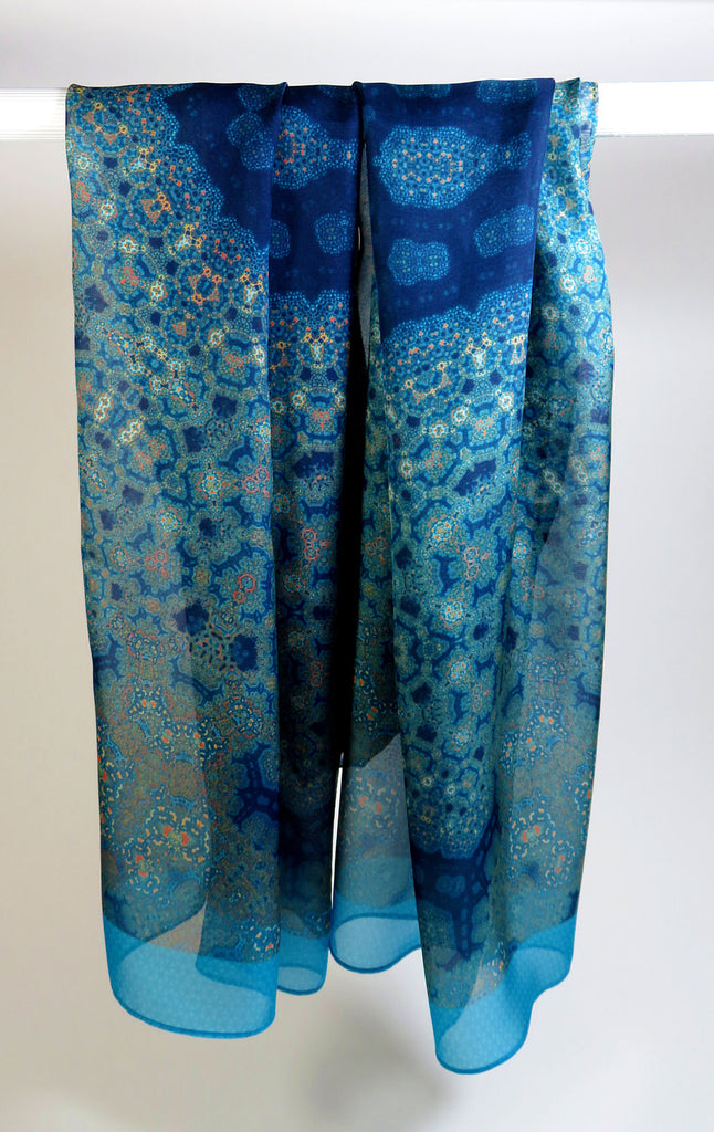"Long Silk Scarf in Teal, Blue, Peach. ""Orient Meditation Shawl - ScarvesByEllen"