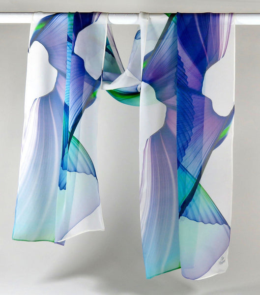 Unique gift for Woman, Wings Scarf, White Sheer Scarf Silk Chiffon Abstract Wings Design, retirement gift ideas for her, gift box