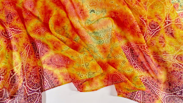 "Orange summer Scarf Chiffon, Fractal paisley scarf, gift women, summer scarves, gift for her,""Magic Flute"" Design, retirement gift"