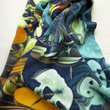 "Long Silk Scarf: ""How Does your Garden Grow?"" 3-dimensional fractal,  unique gifts,  gift ideas for her, heady hippy fashion"