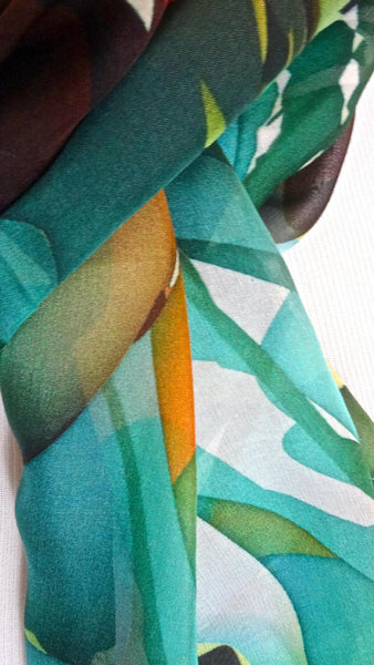 Spring Scarf, Teal Green and Orange silk chiffon, Gift for her, womens scarves, sheer chiffon scarf scarvesbyellen, gifts for women