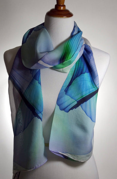 "White Summer Scarf, Fine Silk Chiffon, Abstract Wings, White, Blue Green Violet, gift for her, womens scarves, ""Wings Series 9"" sheer scarf"