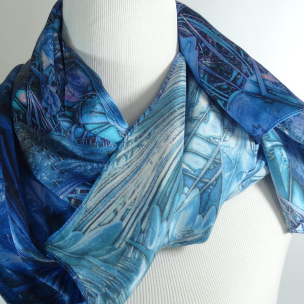 Blue Silk Scarf - Sea Forms -  Silk Charmeuse, Unique scarf, womens scarves, psychedelic, festival scarf, fractal, spirituality