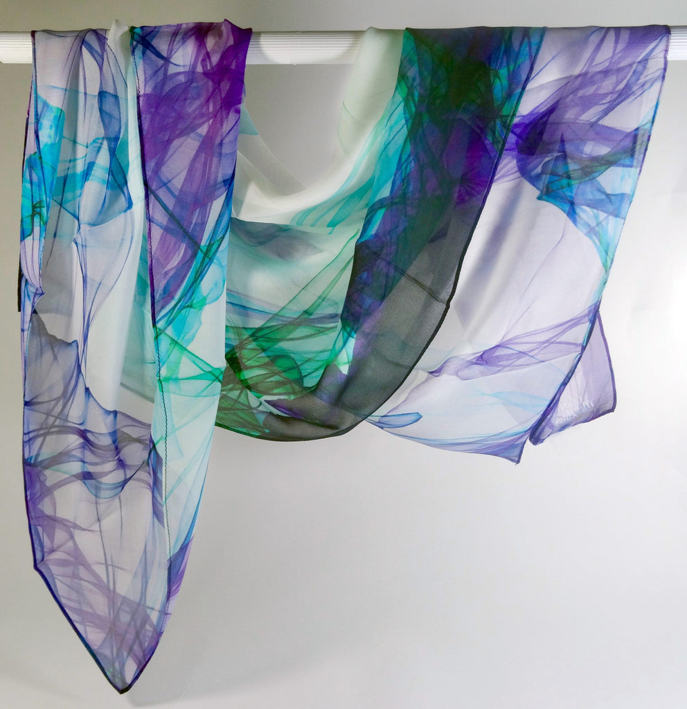 "Large Silk Chiffon Scarf, ""Ink in Water"" Purple-Aqua Light Scarf - ScarvesByEllen"