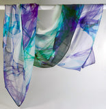 "Summer Scarf, Fine Silk Chiffon, gift for her, womens scarves, ""Ink in Water"" Purple-Aqua Light Scarf, valentine's day scarf"