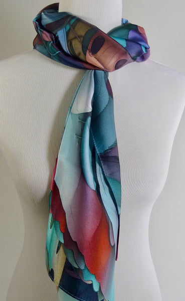 "Long Silk Satin Scarf - ""Endoplasmic Reticulum"" Design, art scarf, fractal scarves, science gifts for women, mens scarf, festival clothing"