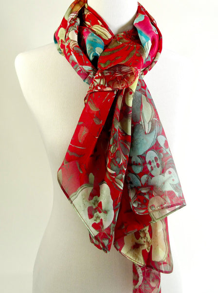 "Summer Scarf, Red Silk Scarf, Scarves for women, chiffon Scarf, Silk Pareo, fractal scarf, ""garden series"" unique gifts for women"