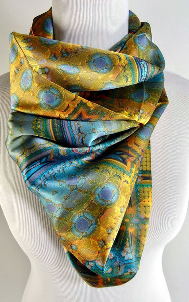 "Blue and Gold Square Scarf, Silk Art Scarf, ""Architectonic I"" Design, 3D fractal, science scarves, head scarf, festival, science scarf"