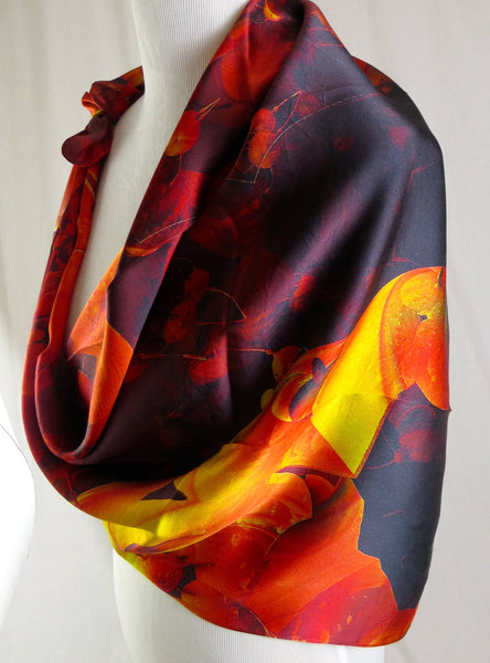 Red Silk Scarf, square scarves for women, 3D Fractal Flowers, trippy neck scarf, women in science gift