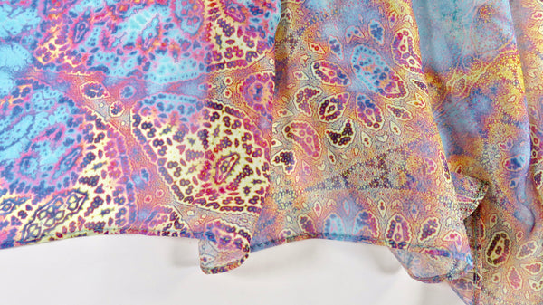 "Paisley Chiffon Scarf, Art Scarf, ""Magic Flute"" Multicolor, Festival clothing, light scarf, woman gift, unique gift for her, fractal scarf"