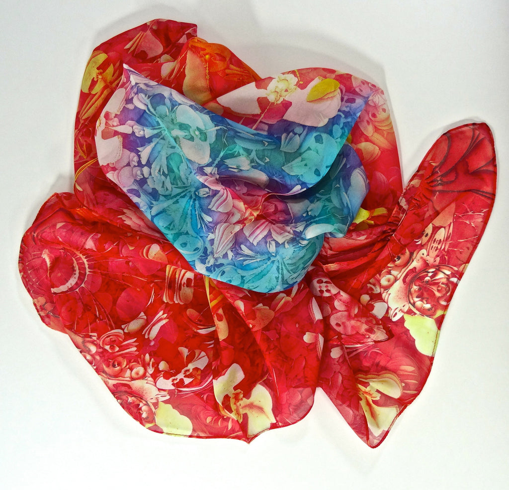 "Long Silk Scarf,  3D fractal ""Garden series"" in Coral, Red & aqua - ScarvesByEllen"