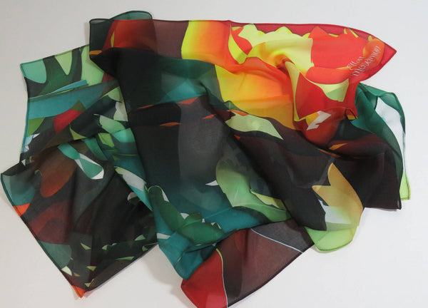 "Orange and Green Silk Chiffon Scarf, 36"" Square 