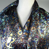 "Silk Scarf, Unique Gifts, Scarves for women, Festival scarf, Blue Gold Fractal scarf, mans scarf, Unique gifts, ""Gustav"", fine chinese silk"