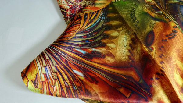 Festival Scarf, Silk Fractal scarf, festival clothing, mens scarves, rave psychedelic clothing, trippy, heady gifts