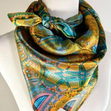Gold and Blue Silk Scarf, Unique Abstract Scarf