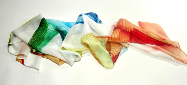 White Summer Scarf, Fine Silk Chiffon, gift for her, womens scarves, Red Blue Yellow, Green Chiffon, scarves for women, valentines day gift