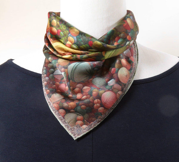 "Small Silk Scarf, Silk Neckerchief, ""Rise Pastel,"" a 3D Fractal design, 17"" square, Gifts for Her, purse scarves, hand-rolled hem"