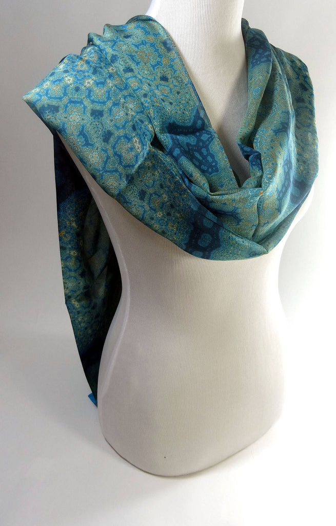 "Long Silk Scarf in Teal, Blue, Peach. ""Orient Meditation Shawl 