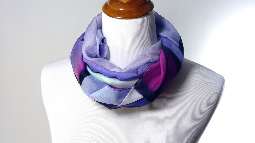 "Sheer Purple Ombre Scarf in Purple Violet Silk Chiffon ""Minimalism"" - ScarvesByEllen"