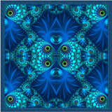 "Blue Green Fractal scarf, Silk Bandana or Kerchief ""The Watcher"" - ScarvesByEllen"
