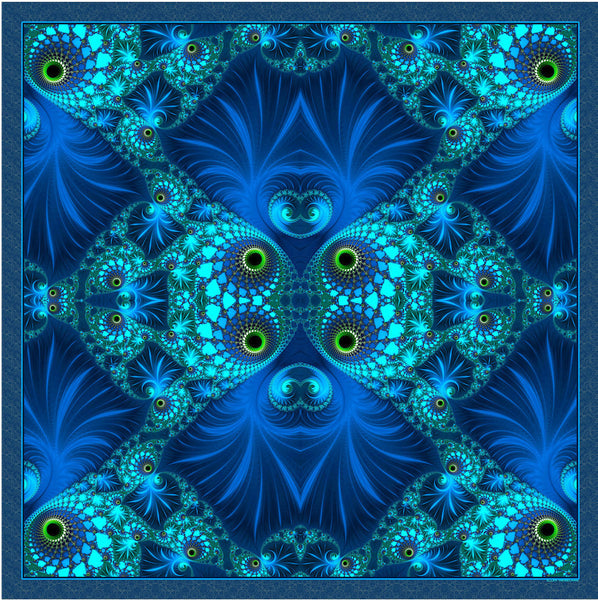 "Silk Scarf, Blue Green Fractal scarf, 26"" square Silk Kerchief, Psychedelic, unisex scarf, gifts for her,  ""The Watcher"" design, bandana"