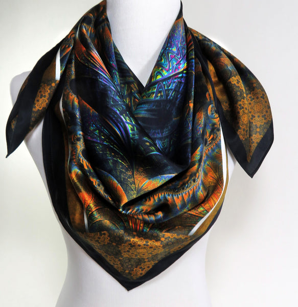 "Silk Scarf, ""Spiral Clockwork"", Festival scarves, Unique gifts for women, Fractal scarves, psychedelic, mens scarves, head scarf"