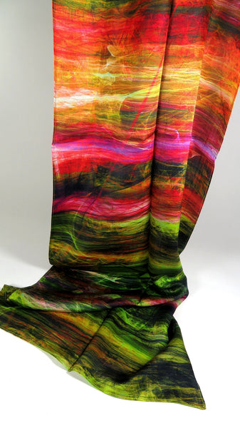 "Festival Scarf, Long Silk Scarves, ""Colored Rain"", mens scarves, unusual gifts for women, girlfriend gift, bassnectar black friday sale"
