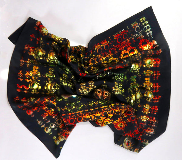 "Black Silk Scarf, Silk Bandana, Festival Scarf, 3D Fractal, 26"" Silk Kerchief, mens scarves, gifts for women, altar cloth, ""Mayan artifacts"""