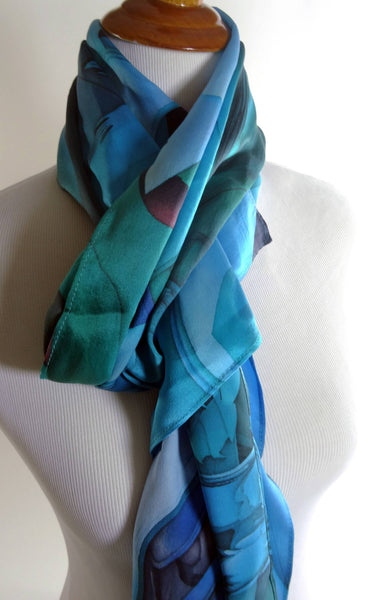 "Blue Silk Scarf, Woman scarf silk, Fine silk scarves, Present for mom, ""Oceanic blue"", present for wife, wife gift, museum shop"