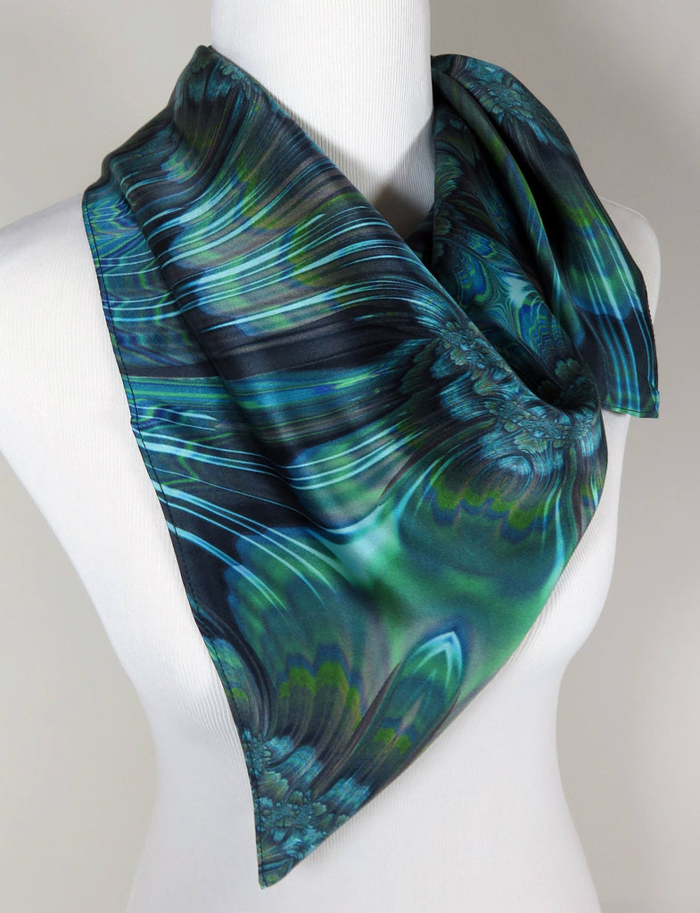 "Blue Green Womens Silk Fractal Scarf, 36"" square silk satin, ""Reaction"" good gifts - ScarvesByEllen"