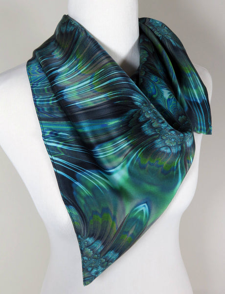 "Blue Green Womens Silk Fractal Scarf, 36"" square silk satin, ""Reaction"" good gifts"