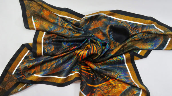 "Square Silk Scarf,  Unique Festival scarf, ""Spiral Clockwork,"" psychedelic trippy edm rave, unisex scarf, gift for woman friend gift BFF"