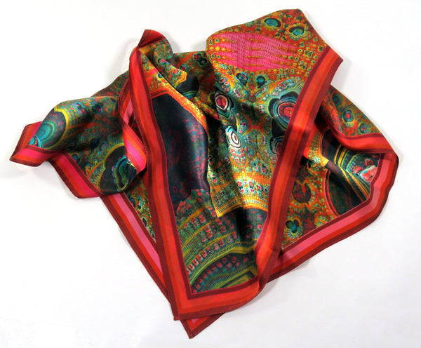 "Silk Scarf, Silk Bandana, Festival Scarf, 3D Fractal, 26"" Silk Kerchief, unisex scarf, gifts for women, altar cloth, Math scarf, science"