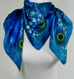 "Blue Silk Scarf, Blue Green Fractal scarf, 36"" Square Silk scarf, Psychedelic, man scarf, gifts for her,  ""The Watcher"" Festival scarf"