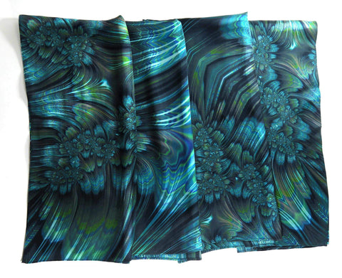 "Blue Green Silk Scarf ""Reaction,"" Square Silk Scarf - ScarvesByEllen"