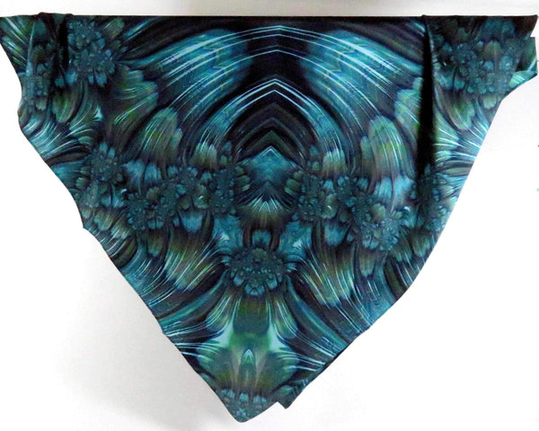 "Blue Green Silk Scarf, gift women, Fractal Scarf, Festival Scarf, Fine Silk, womens scarf silk,""Reaction"" design, MADE TO ORDER"