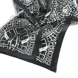 "Black and White Scarf, Silk Bandana, Fractal design 26"" square kerchief, gifts for her, Psychedelic, Symmetry, Man Scarf"