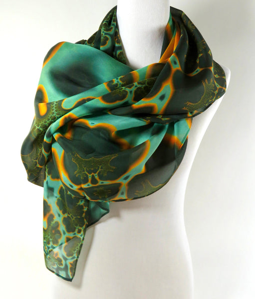 "Big Silk Scarf in Green and Gold, Unusual Scarf, Silk Fractal Scarf, Unique Scarf, womens scarves, rave, ""Molten"" design, gift for Mom"