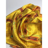 "Square Silk Satin Scarf, Orange, Yellow, Teal , ""Architectonic II"", 3D fractal, abstract"