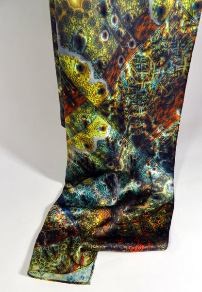 "Festival scarf, Silk Satin Scarf, Scarves for men, 3D Fractal Gold Blue Orange, man scarf silk, womens scarf,  ""Fractal Patchwork"""