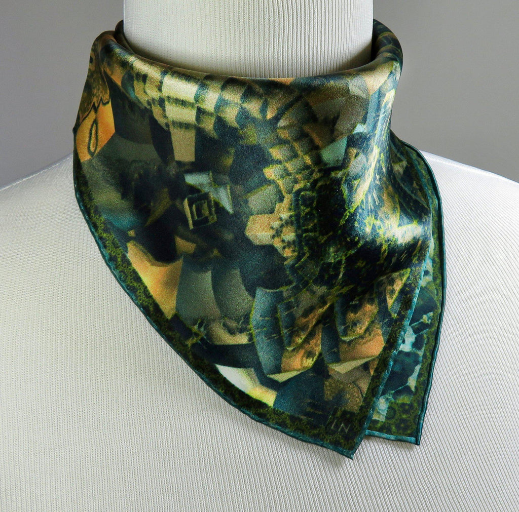 "Small Square Scarf, ""Victorian I"" Silk Kerchief with Hand-rolled Hem, 3D Fractal design, 17"" Square, gifts for her, wrist or purse scarf"