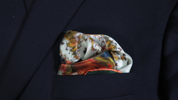 "Mens Silk Pocket Square, Fractal Silk handkerchief, ""Versailles"",  unique gifts for Men, Best Man, Boss gift, Boyfriend Husband gift"