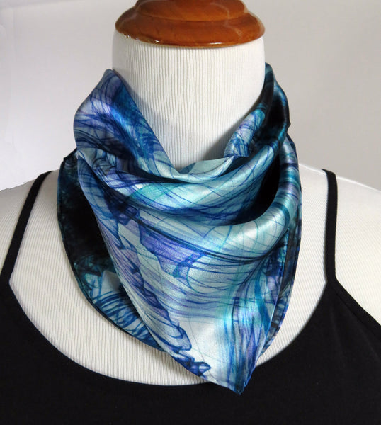 "Small Silk Scarf in Blue and Aqua with hand-rolled hem, purse scarf, ""Knots Series Blue"" design, 17"" Square, gifts for her"