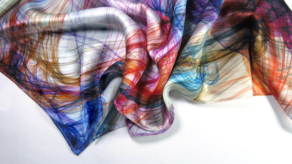 "Silk Scarf, Silk Bandana, Festival Scarf, 26"" Silk Kerchief, unisex scarf, gifts for women, mens scarves, ""Knots 2 Multicolor"", neckerchief"