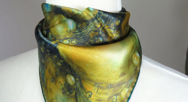 "Small Square Scarf, ""Saturn's Rings"" Silk Kerchief, 3D Fractal design, 17"" Square, gifts for her, purse scarf inexpensive Gift for woman"