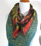 Large Ethnic scarf, Modal Cashmere Square Shawl in Green, Rust and Gold, Fractal Tribal design, gift for woman