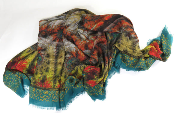 Oversized Modal Cashmere Scarf Shawl in Green, Rust and Gold, gift for woman, Fractal Ethnic scarf, Tribal Fractals